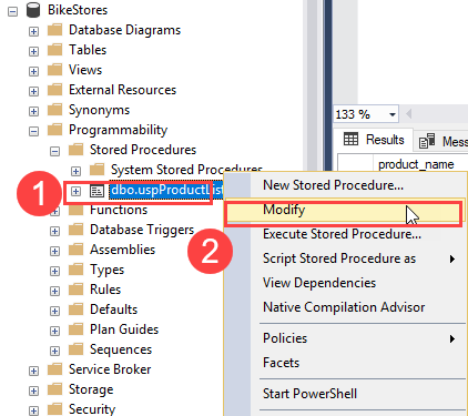 Sửa đổi stored procedure trong SQL Server