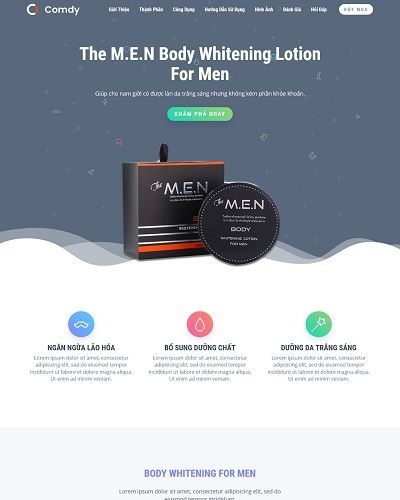 Landing page mỹ phẩm dành cho nam The M.E.N Body Whitening For Men