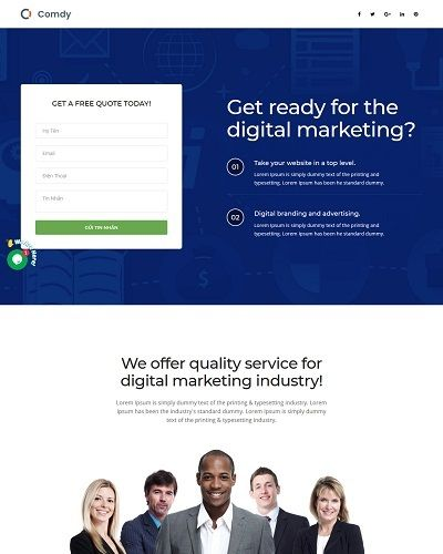 Landing page digital marketing