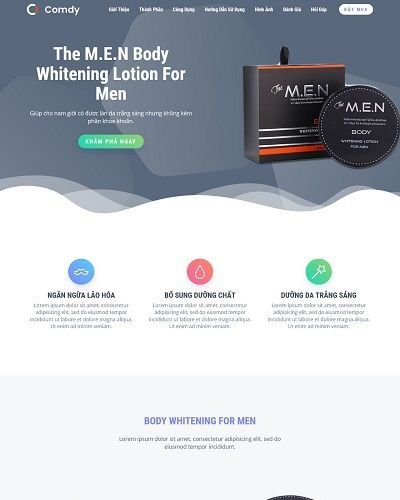 Landing page mỹ phẩm dành cho nam The M.E.N Body Whitening For Men 3