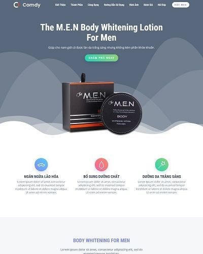Landing page mỹ phẩm dành cho nam The M.E.N Body Whitening For Men 4