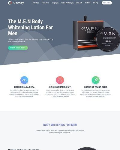 Landing page mỹ phẩm dành cho nam The M.E.N Body Whitening For Men 6